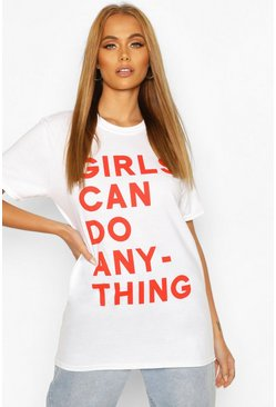 White Girls Can Do Anything Slogan T-Shirt
