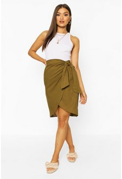 Khaki Linen Tie Side Midi Skirt