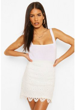 Ivory Broderie Scalloped Hem Mini Skirt