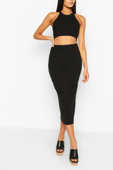Black Basic High Waist Midaxi Skirt