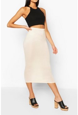 Ochre Basic High Waist Midaxi Skirt