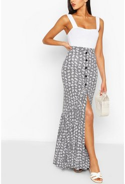 Black Button Front Floral Drop Hem maxi Skirt