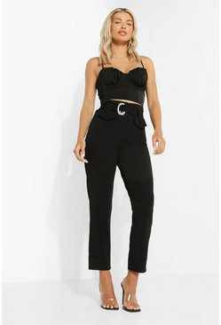 Black Deep Waist Band High Waist Trouser