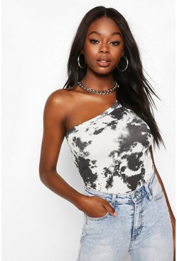 Black Tye Dye One Shoulder Bodysuit