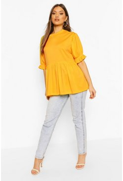 Mustard Ribbed Puff Sleeve Smock Top
