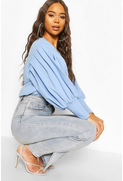 Blue Puff Sleeve Sweat Top