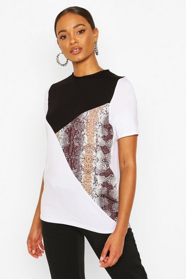 Black Colour Block Snake Top