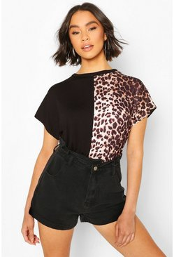 Black Leopard Panel Colour Block T-Shirt