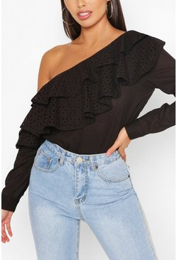 Black Broderie Anglaise Ruffle One Shoulder Top