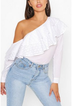 White Broderie Anglaise Ruffle One Shoulder Top