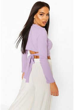Lilac Jumbo Rib Tie Back Long Sleeve Top