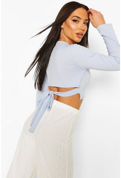 Sky Jumbo Rib Tie Back Long Sleeve Top