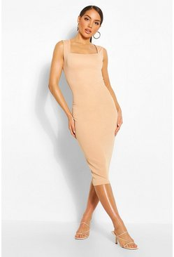 Mocha Square Neck Midi Dress