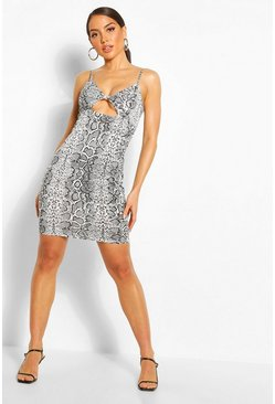 Snake Print Twist Front Mini Dress