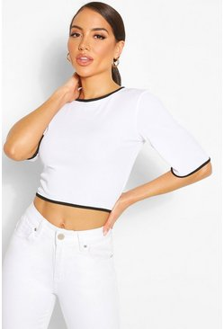 White Contrast Tipping Top