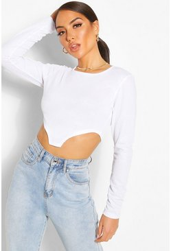 White Pointed Hem Crop Top