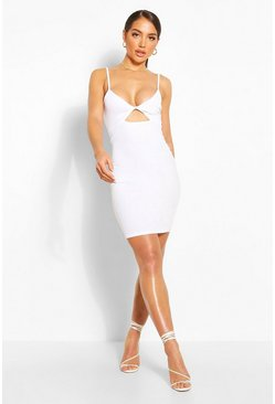 White Twist Front Mini Dress