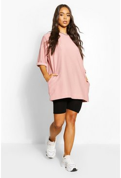 Rose Oversized Slash Neck Sweat Top
