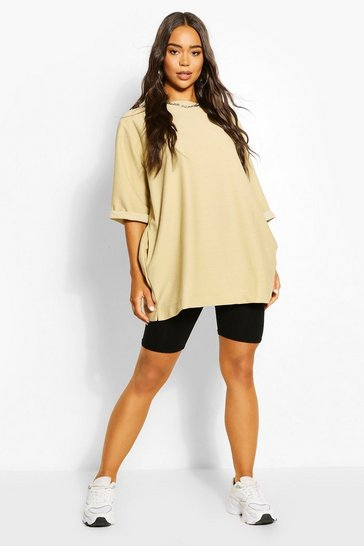 Stone Oversized Slash Neck Sweat Top