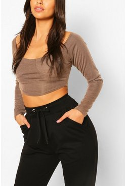 Tan Washed Rib Panelled Crop Top
