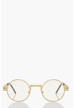 Gold Clear Lense Round Fashion Glasses