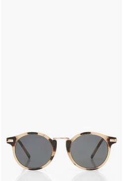 Cream Classic Tortoise Shell Round Sunglasses