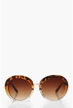 Brown Retro Oversized Sunglasses