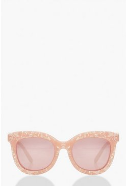 Pink Rose Quartz Look Oversized Sunglasses
