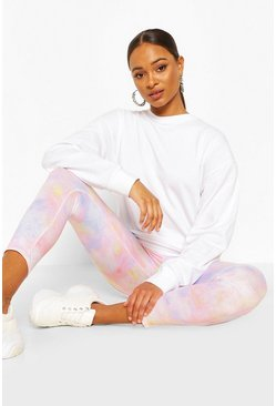 Peach Pastel Tie Dye Leggings