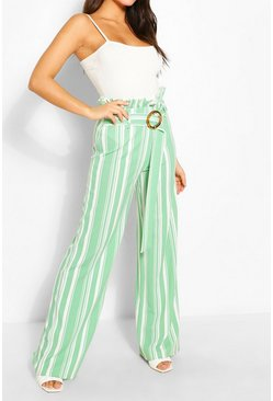 Sage Stripe Paperbag Wide Leg Trousers
