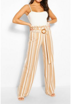 Stone Stripe Paperbag Wide Leg Trousers