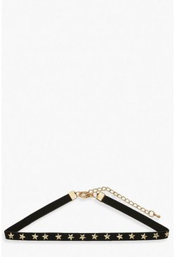 Black Suede Choker With Star Studs