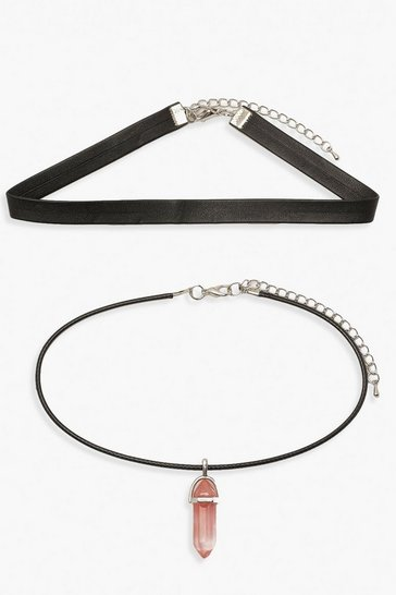 Black PU Choker With Crystal Charm