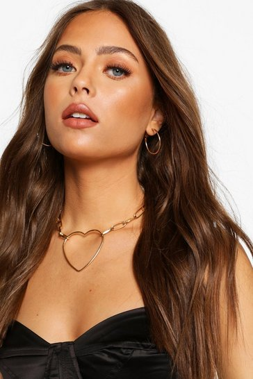 Gold Chain Link Heart Choker