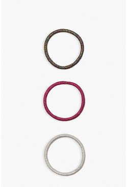 Pink Metallic Hair Bands 6 Pack