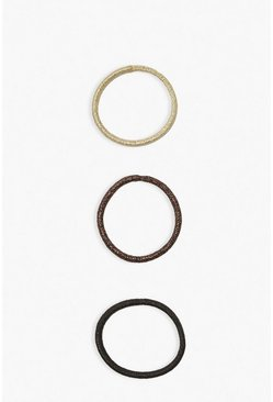 Brown Tonal Metallic Hair Bobbles 6 Pack