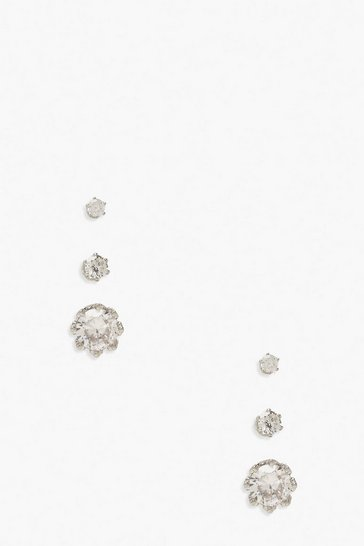 Silver 3 Pack Diamante Earrings