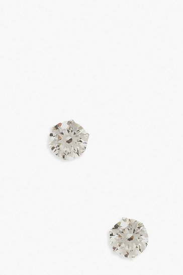 Silver 6mm Diamante Stud Earrings
