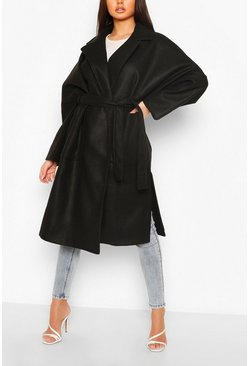 Black Oversized Belted Wool Look Coat