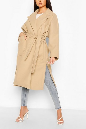 Stone Oversized Belted Wool Look Coat