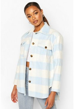 Blue Check Oversized Shacket