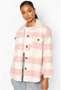 Lilac Check Oversized Shacket