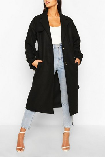 Black Belted Wool Look Trench Coat
