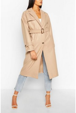 Stone Belted Wool Look Trench Coat