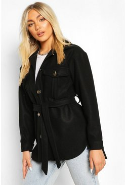 Black Belted Utility Shacket