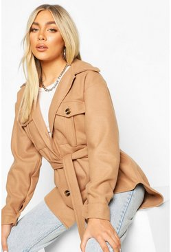 Camel Belted Utility Shacket