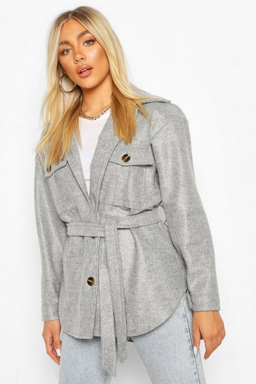 Grey Belted Utility Shacket
