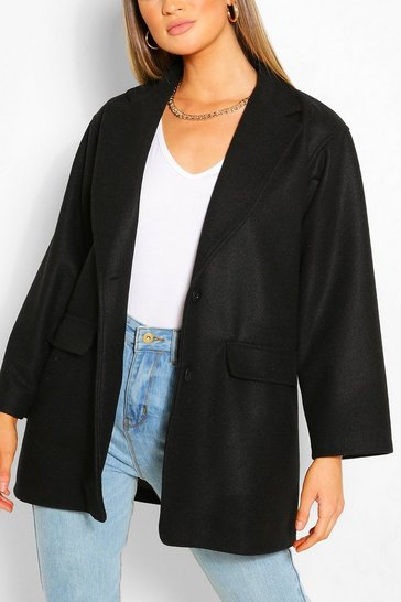 Black Belted Wool Look Blazer