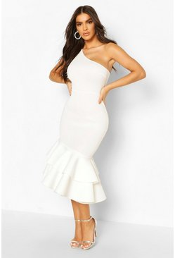 White One Shoulder Peplum Hem Scuba Midi Dress