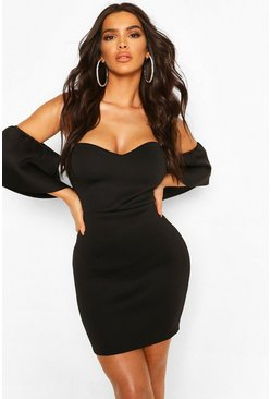 Black Off The Shoulder Flared Sleeve Mini Dress